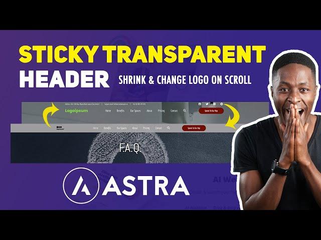Create a transparent sticky header with Astra header builder (shrink & change logo on scroll)