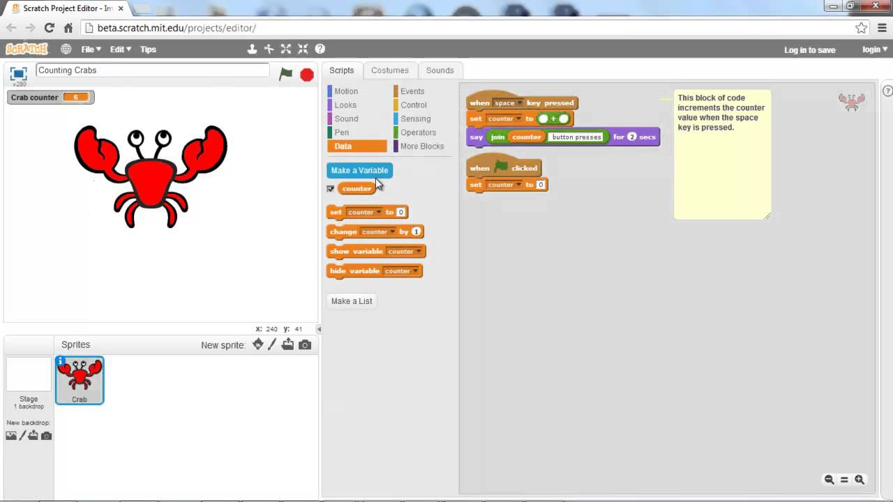 Scratch 2.0 Tutorial - Variables and Lists - 2 - YouTube