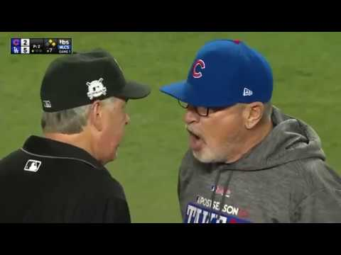 Joe Maddon Gets Ejected from NLCS Game 1 in 7th inning - Cubs v Dodgers