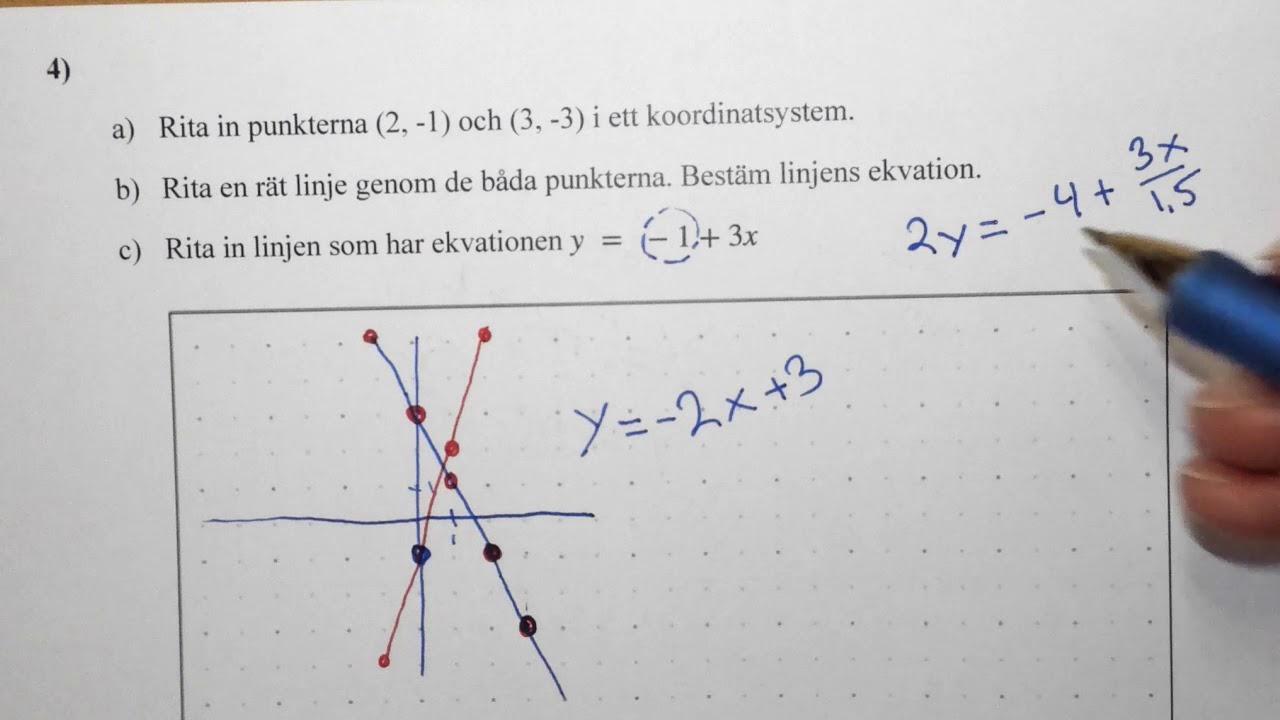 Matematik 1b, 5.2. Prov i FUNKTIONER, lösningsförslag till några av uppgifterna.