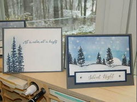 Moonlight Winter Scene Card Using Stampin UP YouTube