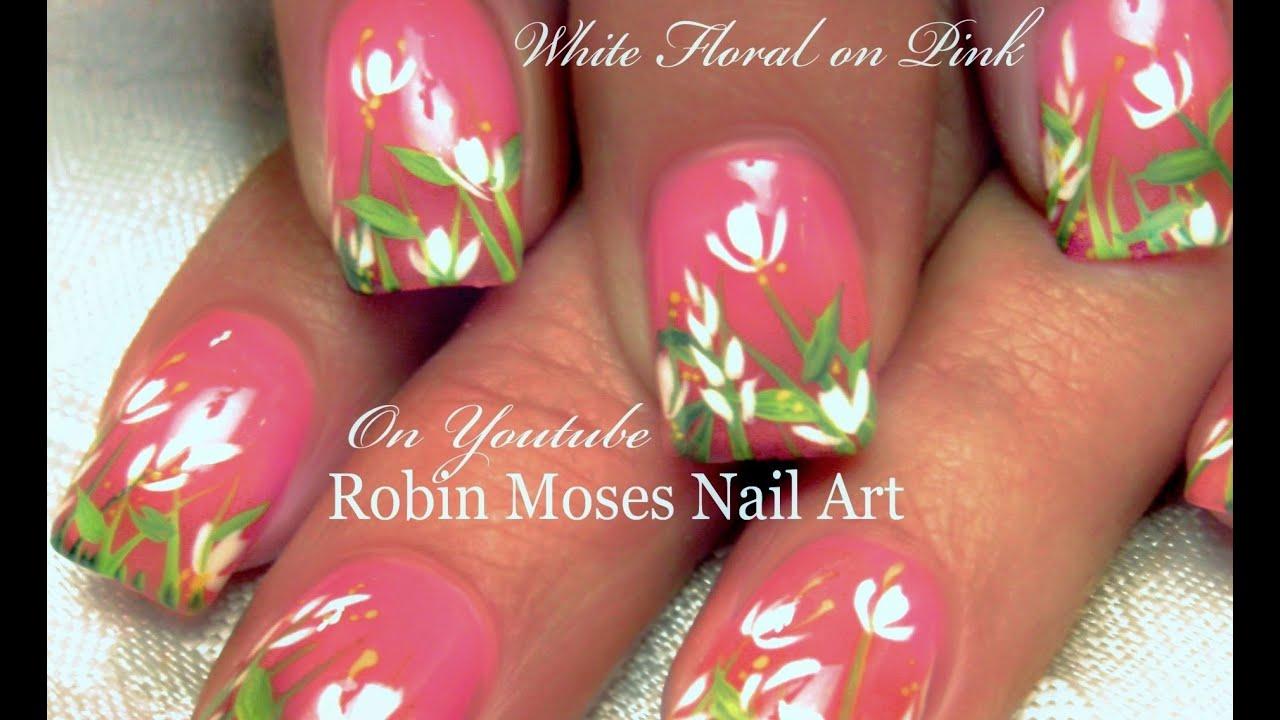 easy diy white spring flower nail