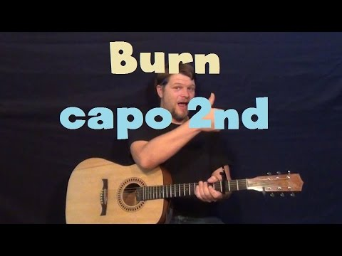 Burn (Ellie Goulding) Easy Guitar Lesson Strum Chords How to Play Tutorial Capo 2nd Fret