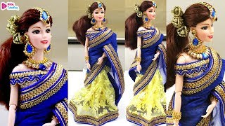 Barbie doll saree making, indian bridal doll dress and jewellery, Barbie double color saree draping