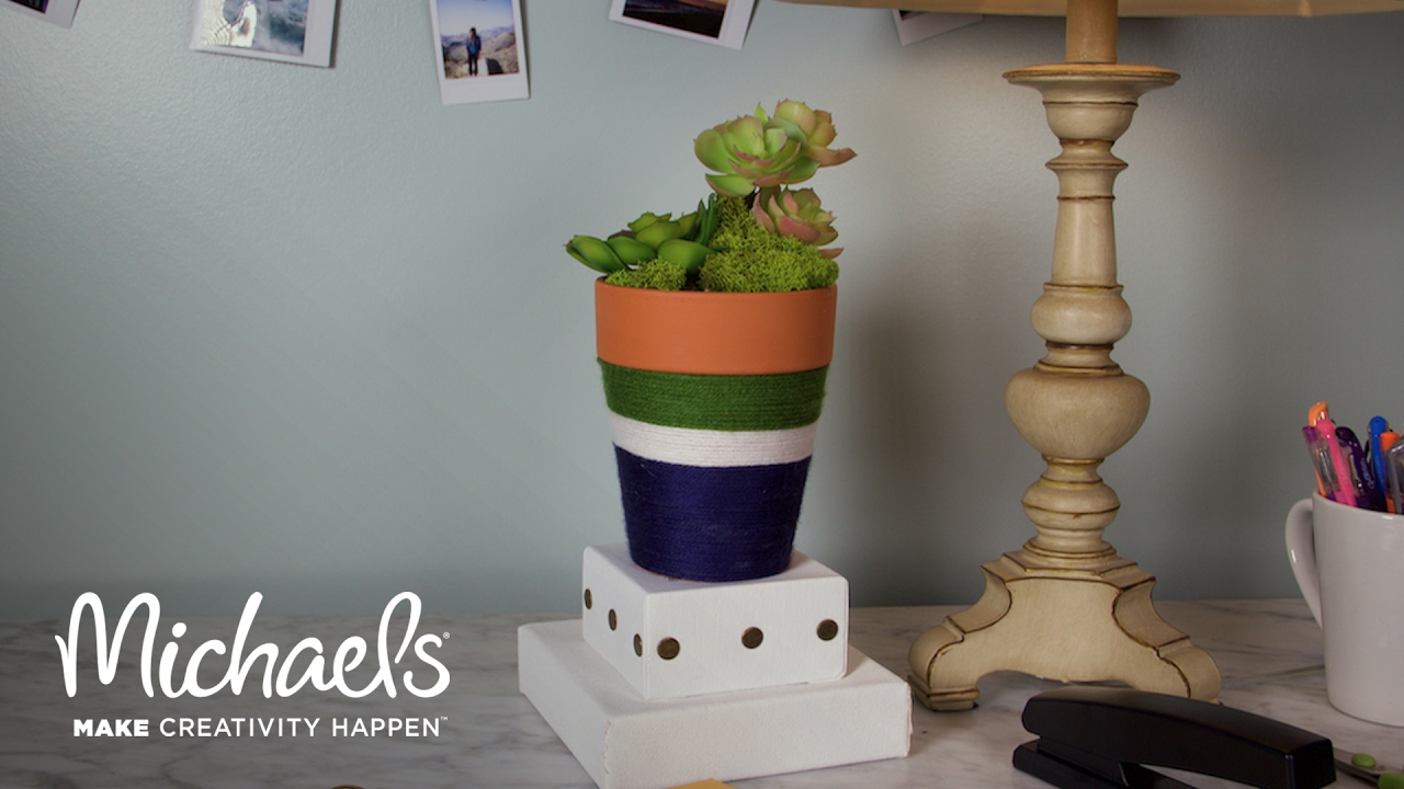 create your own: yarn wrapped clay pot | michaels - youtube