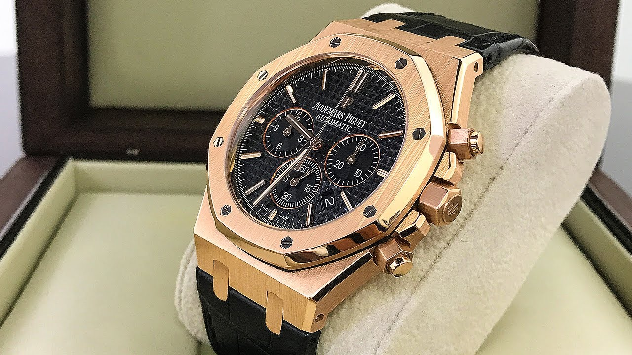 243bab0b21081 AP Royal Oak Chrono Luxury Watch in Rose Gold - YouTube