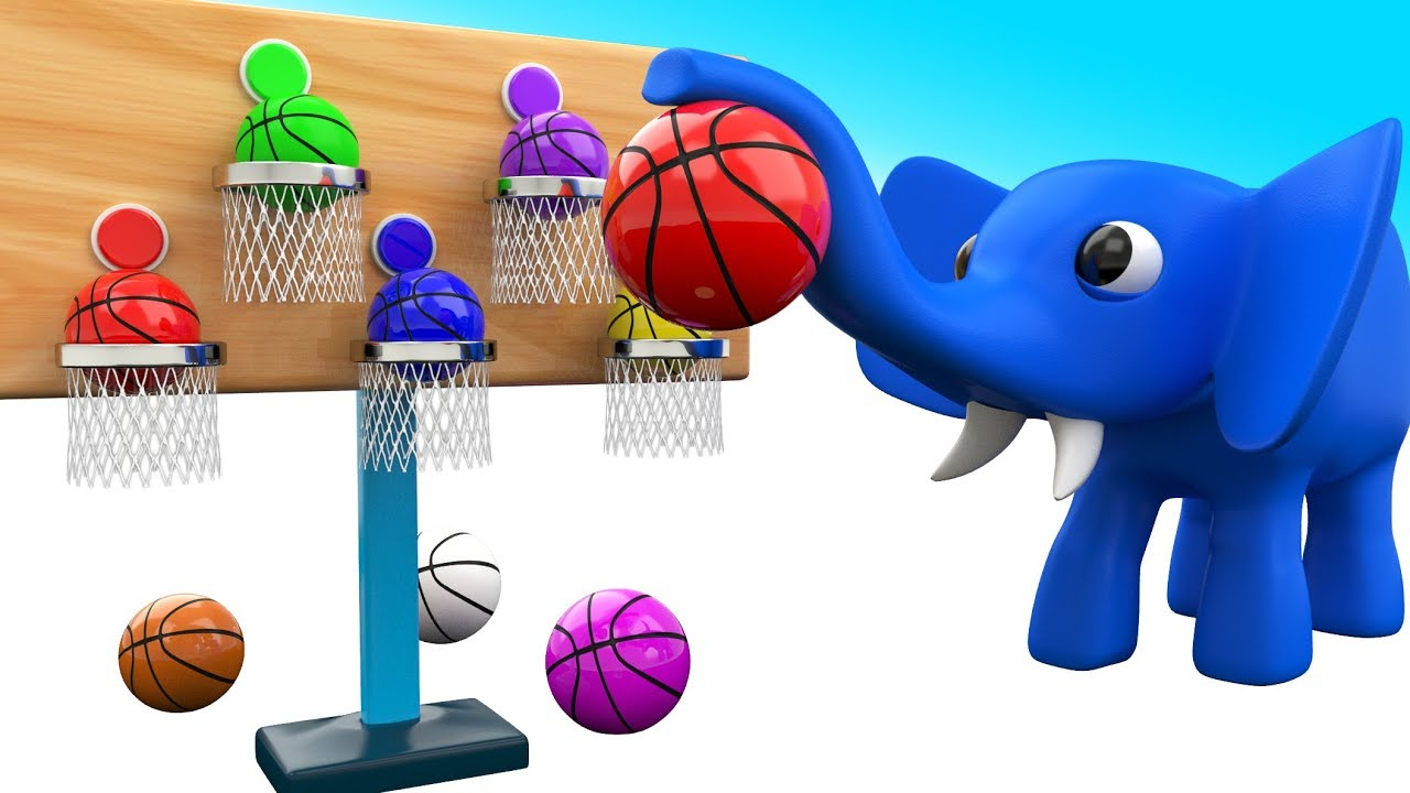 Elephant Cartoon Fun Play Basket Ball 3d Colors For Children To Learning With Baby Kids Educational Youtube