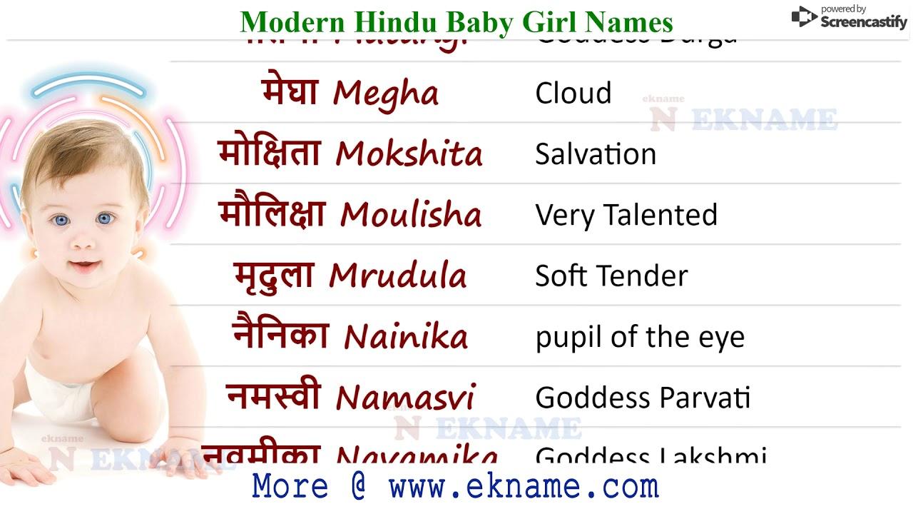 Hindu Girl Names 2019| Modern Baby Girl Names | लड़की के ...
