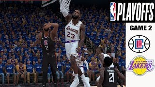 LA Lakers vs LA Clippers ( Playoff Game ) WC Game 2 - NBA 2k20