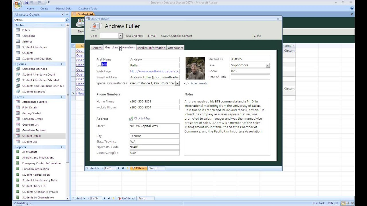 access personnel database template