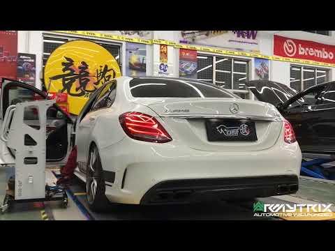 Mercedes Benz W205 C200 w/ ARMYTRIX Full Decat Exhaust, Revs, Pops & Bangs