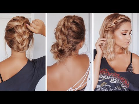 3 Easy Hairstyles For Short Medium Length Hair Ashley Bloomfield Youtube
