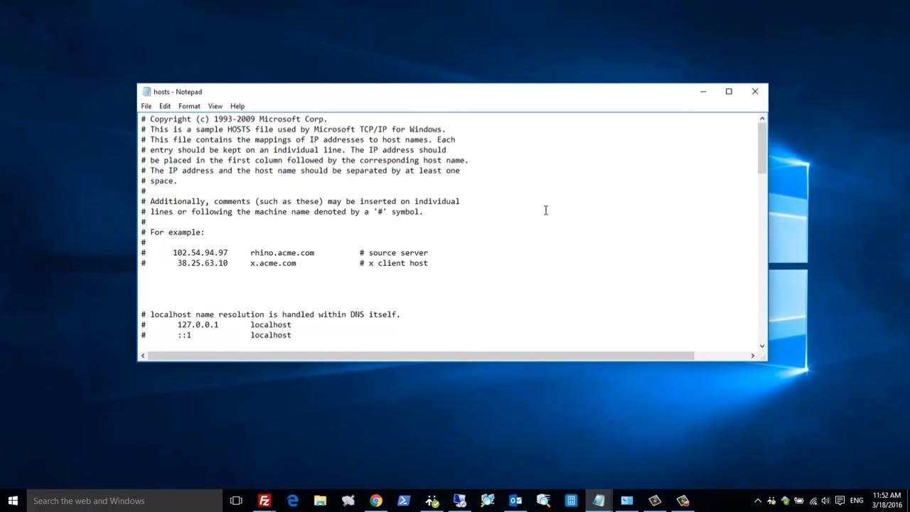 edit hosts file windows 7 access denied