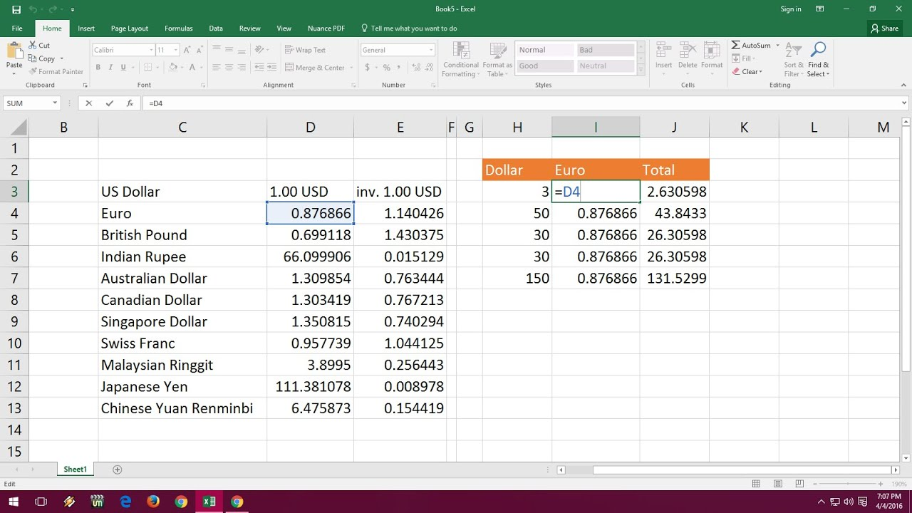 Currency Converter In Excel Sheet