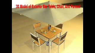 3d Model Of Exterior Bar Table, Chair, And Parasol