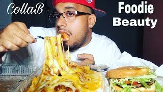 CHEESY CHILI CHEESE FRIES MUKBANG | COLLAB FOODIE BEAUTY | CHEESEBURGER MUKBANG | CHEESE FRIES |