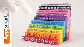 Building Numberblocks 10 - 100 (by tens) from magnetic cubes (crafts for kids)