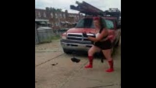 Crazy Woman Smashes Up A Guys Car While Screaming About The White Devil!