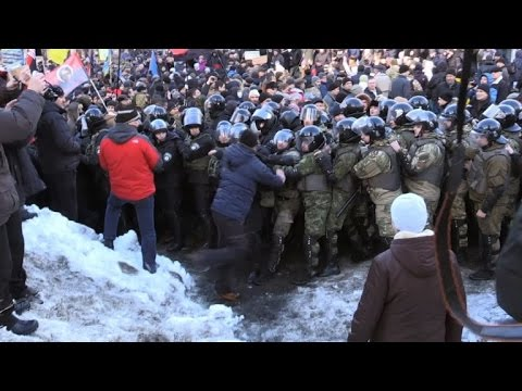 Ukraine ultra-nationalists protest to back rail blockade