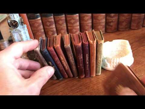 Shakespeare miniature old leather books 1910 era ten small gilt King Lear