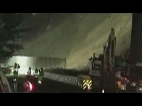 Road Workers Run From Mudslide In California