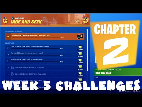 ALL Week 5 Chapter 2 Season 1 Challenges Guide - Hunter & The Hunted - Fortnite Battle Royale