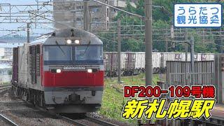 千歳線DF200-109+貨物列車(17両) 新札幌駅通過 JR Chitose Line