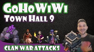 Clash of Clans - TH9 GoHoWiWi 3 Star Clan War Attacks (Golems, Hogs, Wizards & Witches)