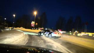 Ice Ricer Nissan GT-R on the way to drifttrack: #1 roundabout drift