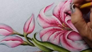 Lírios rosa – Parte 2 – Pintura em tecido