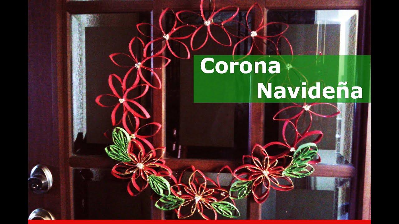 Corona de navidad reciclando tubos de cart n youtube for Coronas de navidad