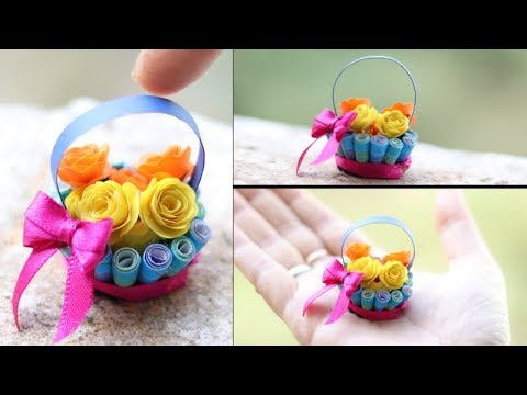 Quilling miniature flower Basket in 3d | diy paper rose | Priknowtomakeit