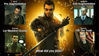 All four possible endings in Deus Ex Human Revolution