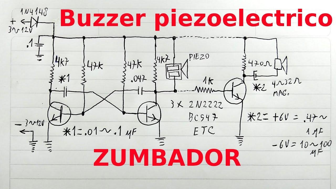 Circuito Zumbador Piezoelectrico : Buzzer zumbador chicharra con transductor