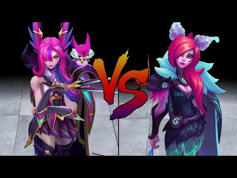 Elderwood Xayah vs Star Guardian Xayah Skin Comparison Spotlight (League of Legends)