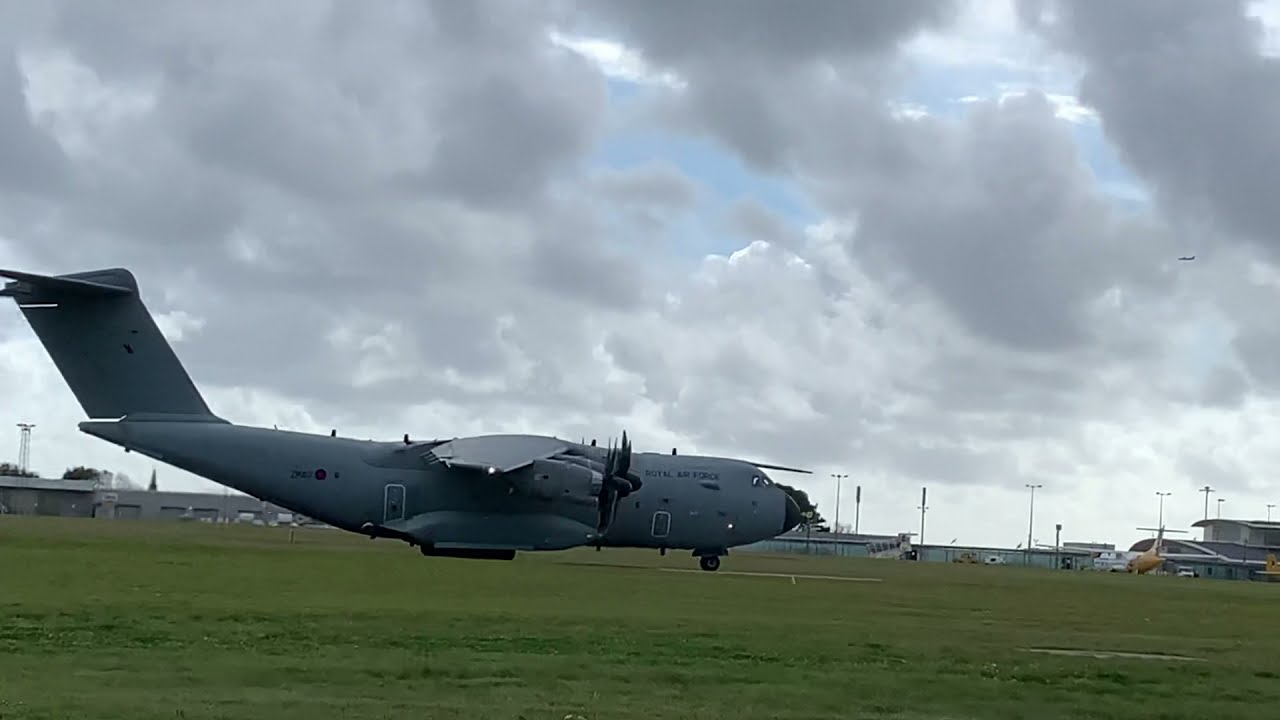 RAF A400M takes off from Guernsey Airport