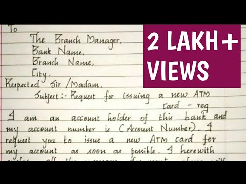 Request Letter For ATM Card