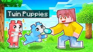 My HELPFUL Twin Wolf PUPPIES In Minecraft!