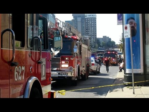Montreal Emergency Services - MAJOR RESPONSE To Sinkhole & ON-SCENE FOOTAGE - SPVM, SIM, U-S, STM