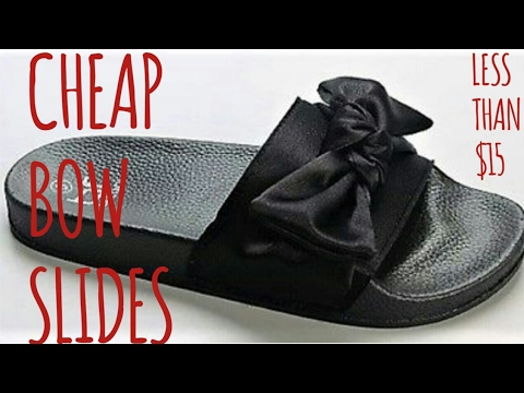 low priced 49097 bff85 CHEAP BOW SLIDES: Rihanna Fenty Dupe