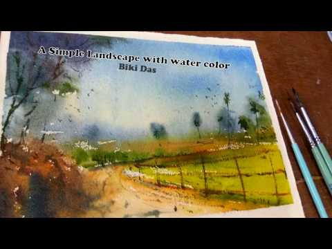 Watercolour: How to Paint a loose technique simple landscape