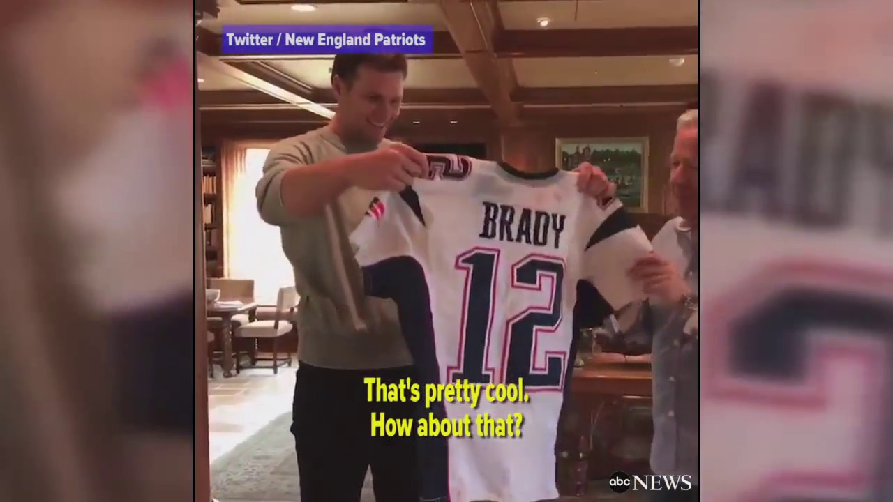 official photos 355b1 f4fa0 Patriots' owner presents Brady with stolen Super Bowl jerseys