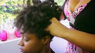 afrokinky hair play scalp massage asmr no talking request 23