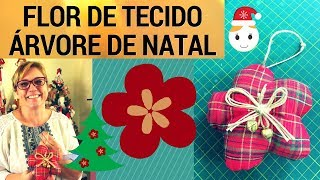 FLOR DE TECIDO PASSO A PASSO – ARTESANATO – ENFEITE PARA ÁRVORE DE NATAL