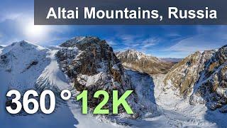 altai mountains russia 360 12k aerial video