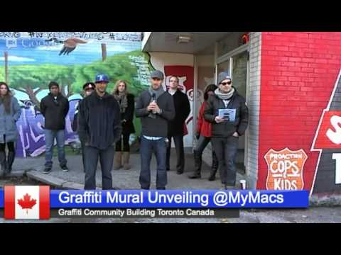 Graffiti Mural Unveiling At Mac's Convenience Store in Rexdale Ontario  Canada