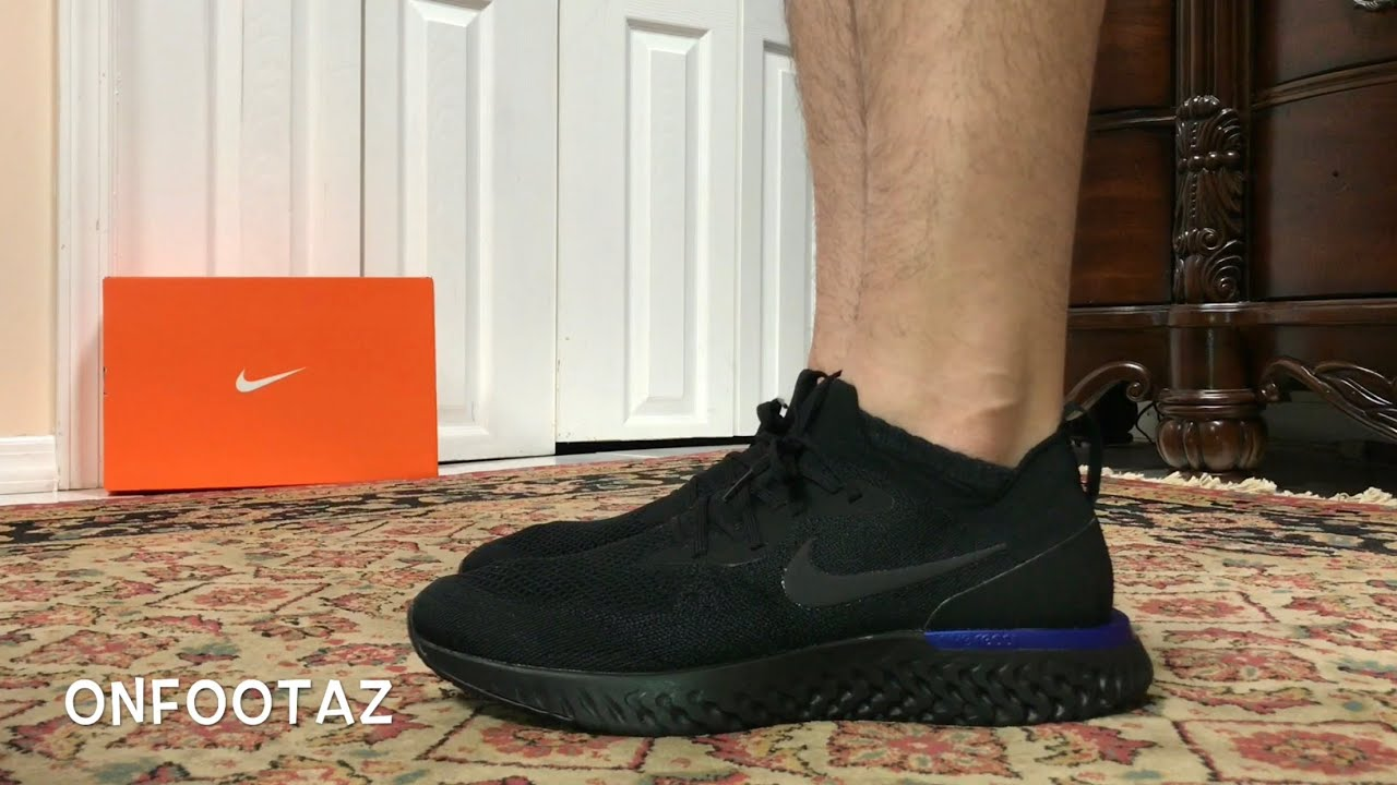 separation shoes 32692 142ec Nike Epic React Flyknit Black Racer Blue On Foot - YouTube