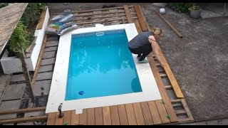 Houten terras om zwembad - Nicole bouwt een zwembad aflevering 12 - I