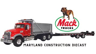 1:50 First Gear Mack Dump Truck and Tag Along Trailer
