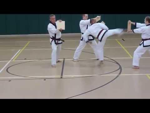 Roundhouse/Side/Short Back Spinning Kick Break